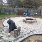 Tumbled Circle Paver Patio with Firepit