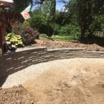 Allan Block retaining wall in ashler pattern.
